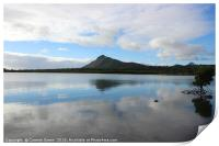 Mountain reflection in the lake, Mauritius, Print