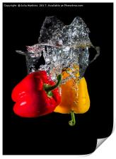 Red and Yellow pepper dropped in Water , Print