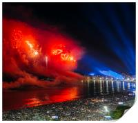 Heart-shaped fireworks at NYE party in Rio, Brazil, Print