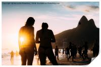 Ipanema Beach, Rio de Janeiro, Brazil sunset, Print