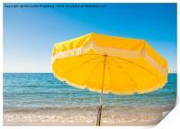Giant yellow beach umbrella next to the ocean agai, Print
