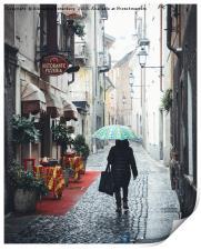 Quaint Italian damp street, Print