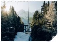 Chairlift at ski resort, Print
