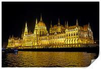 Hungarian Parliament at night                     , Print