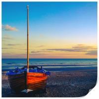 Fishing boat on Hastings Beach, Print