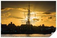 HMS Trincomalee, Hartlepool Historic Quay at Sunse, Print