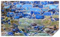 Abstract brick wall with blue tones, Print