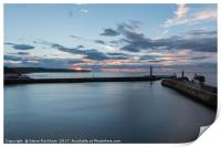 Sunset Over Whitby Harbour Entrance, Print