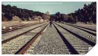 Boy walking for the railway, Print