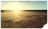 Sunset sun illuminating the sand of the beach, Print