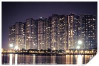 Apartment buildings block at night, Print