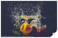 Green Yellow Red bell peppers drop into the water , Print
