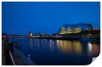 Gateshead & Newcastle Quayside in the Blue Hour, Print