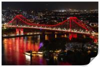 Aerial view of Story Bridge lit after dark, Print