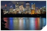 Sydney city skyline after dark, Print