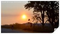 Cyclist at sunset in Zimbabwe, Print