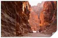 Sunrise paints rose coloured rocks at Petra, Print