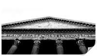 black and white Bottom view of the roman Pantheon , Print