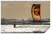 Kite-surfing, Muriwai Beach, Print