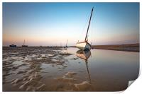 Boats in Meols during sunset, Print