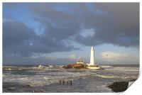 Coast - St Mary`s Island - bright stormy day , Print