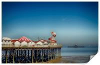 Herne Bay old and new pier Kent , Print
