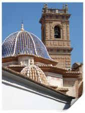 Church dome and tower, Print