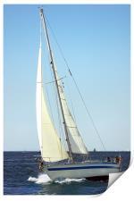 Sailboat ploughing the sea , Print