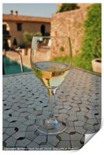 Close up of a chilled glass of white wine, Print