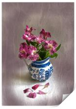 Pink Flowers and Blue Jug, Print