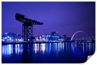 The River Clyde At Night., Print