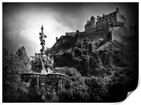 The Ross Fountain, Edinburgh in B&w., Print