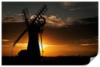 Sunsets behind Thurne Mill, Print