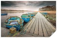 Boats moored to Jetty at Filby, Print