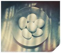 Eggs in a white bowl, Print
