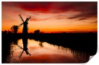 Spring Sunset at Thurne Mill, Print