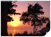 Greek Sunset Silhouette, Print