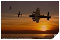 Lancaster Bomber sunset with spitfires, Print