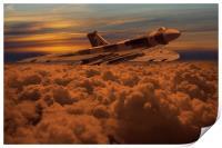 Vulcan Bomber XH558 sunset, Print
