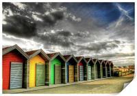 Beach Huts in Colour, Print