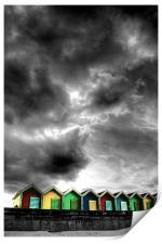 Stormy Beach Huts, Print