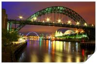 Tyne Bridge at Night, Print