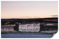 White gate leading to moorland at twilight. Derbys, Print