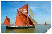Thames Barge Edme watercolour effect, Print