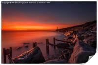 Sea Defences at Aberystwyth sunset, Print
