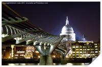 St Paul's and Millennium Bridge, London, Print