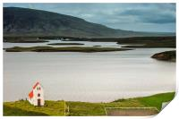 Iceland church and landscape, Print