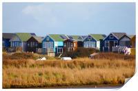 Beach Huts @ Hengistbury Head,, Print