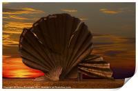 Scallop Sunrise at Aldeburgh, Print