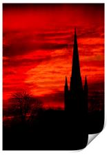 Norwich Cathedral Sunset, Print